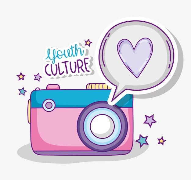 Dessins animés de caméra jeunesse mignon culture de vecteur vector design graphique Vecteur Premium