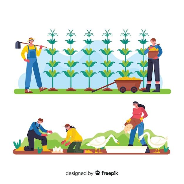 Des dessins animés dans une ferme travaillant de l'agriculture Vecteur gratuit