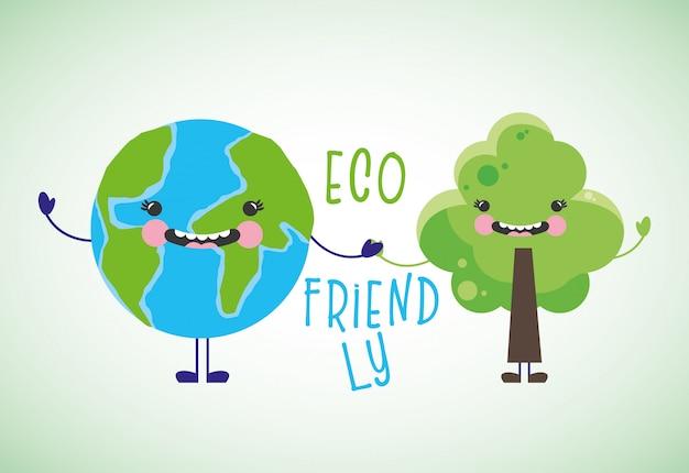 Dessins animés écologiques Vecteur Premium
