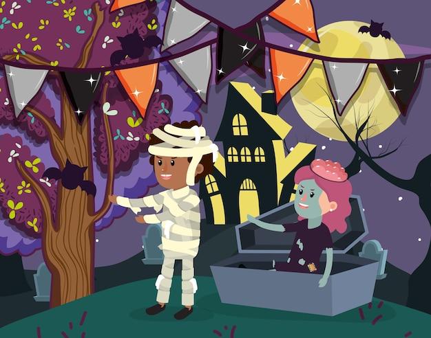 Dessins animés enfants halloween Vecteur Premium