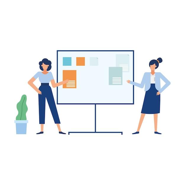 Dessins Animés De Femmes D'affaires Avec Conseil D'administration, Affaires De Bureau Et Gestion Vecteur Premium
