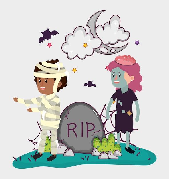 Dessins animés de fête pour enfants halloween Vecteur Premium