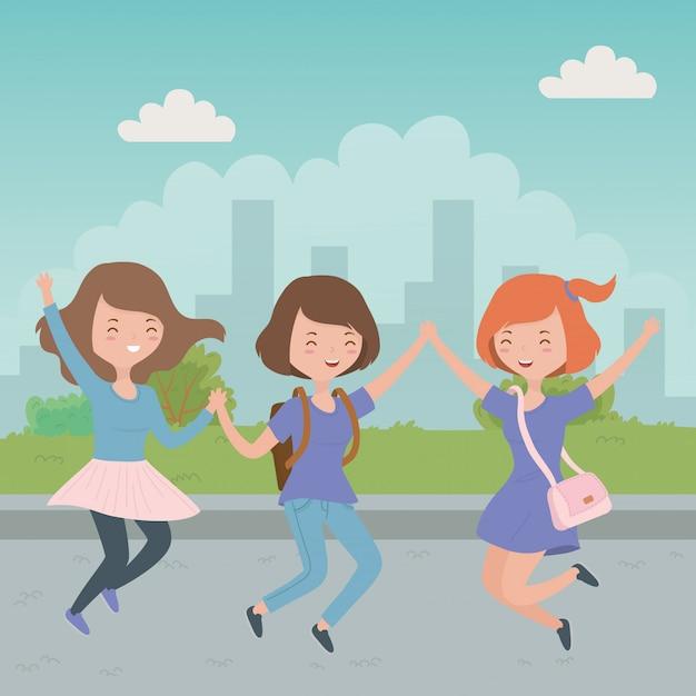 Dessins animés filles adolescentes Vecteur gratuit