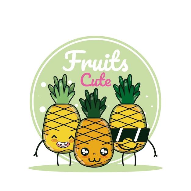 Dessins Animés De Fruits Ananas Télécharger Des Vecteurs