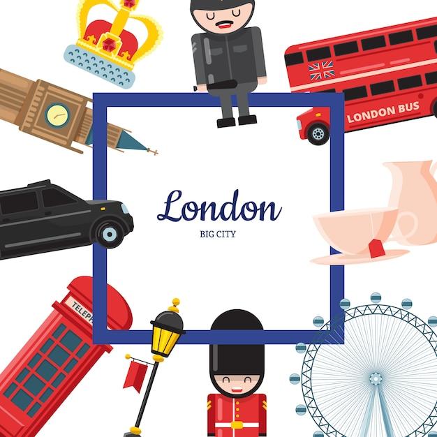 Dessins Animés De Londres Vecteur Premium