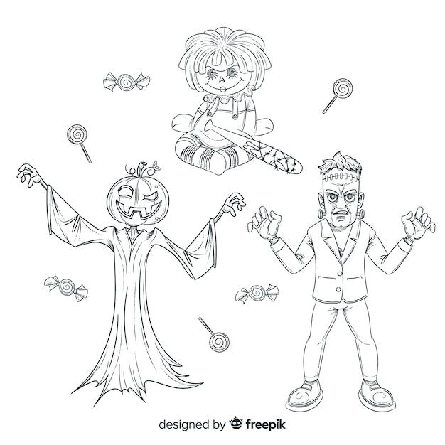 Dessins au crayon de la collection de personnages d'halloween Vecteur gratuit