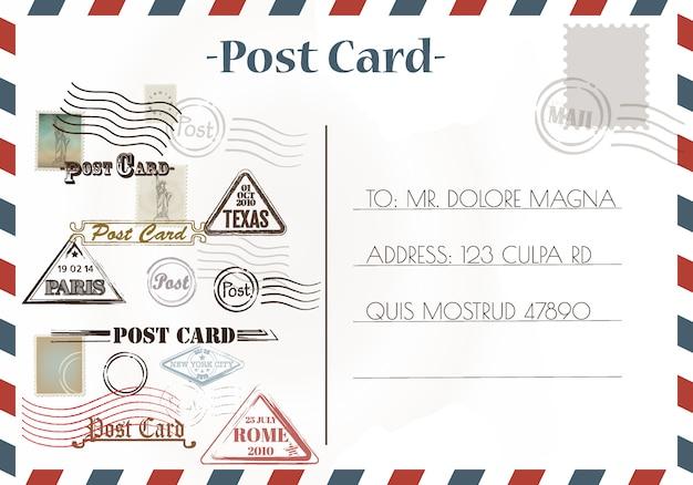 Dessins et cartes postales anciennes Vecteur Premium