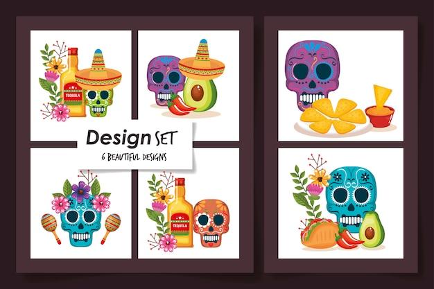 Dessins De Crânes Avec De La Nourriture Mexique Traditionnel Vecteur Premium