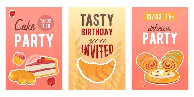 Dessins Créatifs D'invitation De Vacances De Gâteau Avec De La Nourriture Farineuse. Invitations à La Mode De Fête D'anniversaire Avec Des Gâteaux Sucrés. Vecteur gratuit