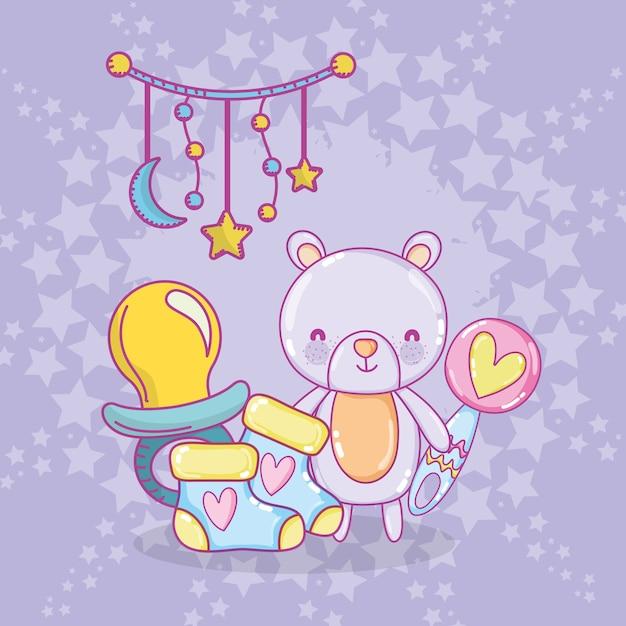 Dessins de douche de bébé Vecteur Premium