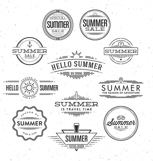 Dessins d'été typographiques Vecteur gratuit