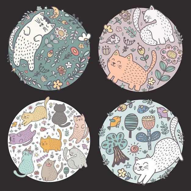 Dessins en forme de cercle avec des chats rigolos. illustration vectorielle Vecteur Premium