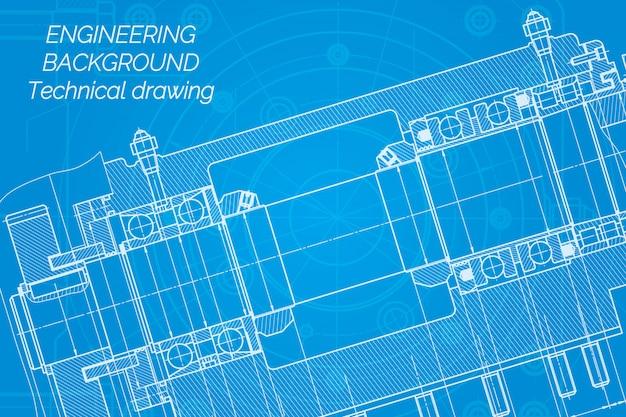 Dessins de génie mécanique sur bleu Vecteur Premium
