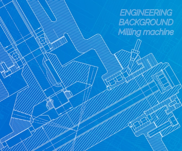 Dessins de génie mécanique sur fond bleu. broche de la fraiseuse. conception technique. Vecteur Premium