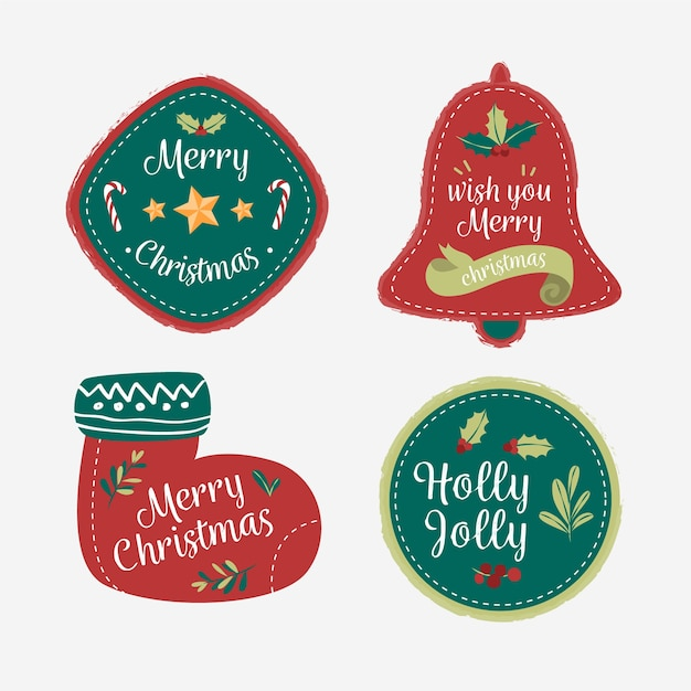 Dessins De Noël Pour La Collection De Badges Et De Logos Vecteur gratuit