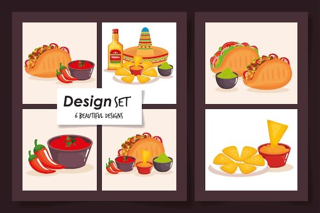 Dessins De Nourriture Mexique Traditionnel Vecteur Premium