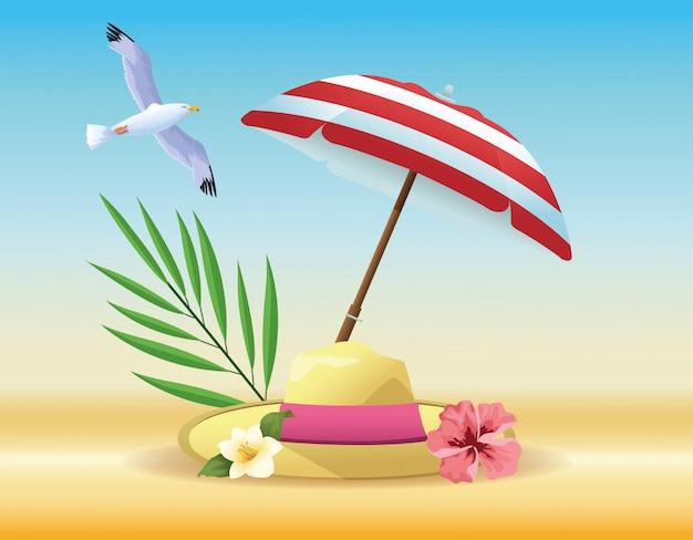 Dessins de produits d'été et de plage Vecteur gratuit