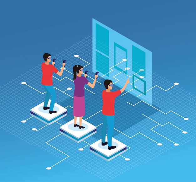 Dessins de réalité virtuelle et amis Vecteur gratuit