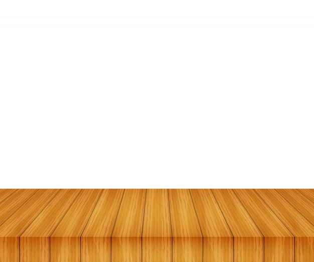 Dessus De Table En Bois De Vecteur Sur Blanc Vecteur Premium