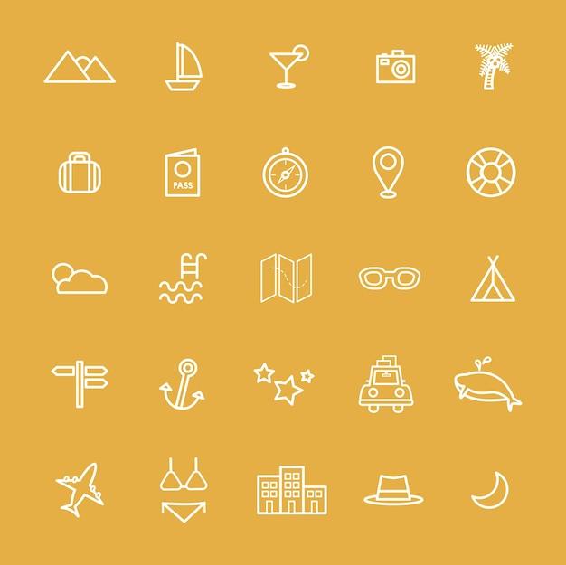 Destination de voyage icône vecteurs illustration concept Vecteur gratuit