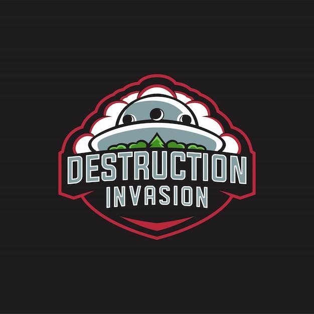 Destruction invasion logo esports Vecteur Premium