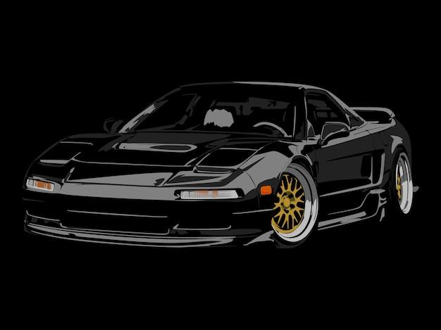Détail réaliste voiture noire cool Vecteur Premium