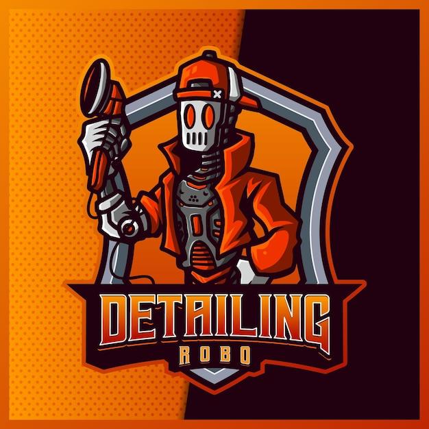 Détaillant La Conception De Logo De Mascotte Esport Et Sport Robot Avec Illustration Moderne. Illustration De Mécanicien Automobile Vecteur Premium