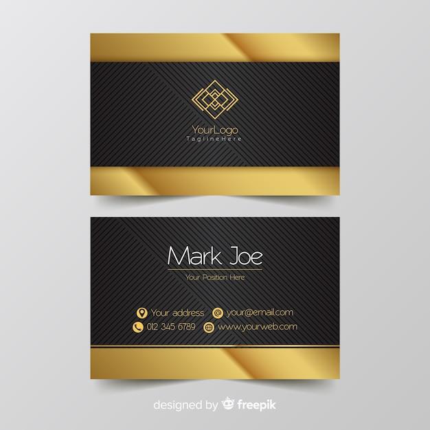 Détails de modèle de carte de visite d'or Vecteur gratuit