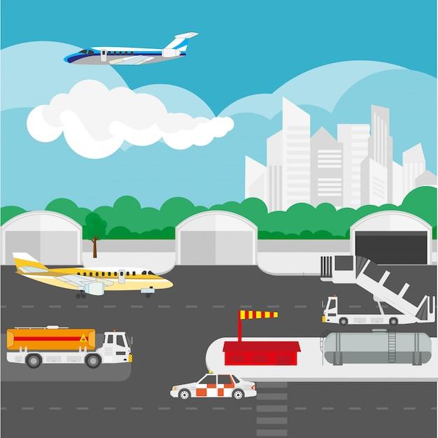 Détails plats d'aéroport et éléments vectoriels Vecteur Premium