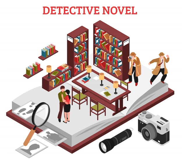 Detective novel design concept Vecteur gratuit