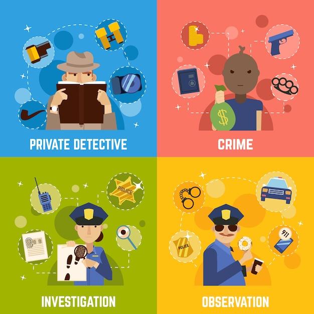 Détective privé concept icons set Vecteur gratuit