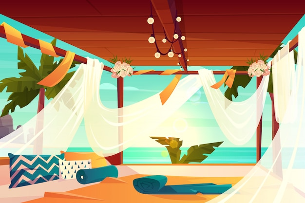 Détendez-vous sur le luxe, vecteur de dessin animé tropical resort. terrasse confortable, fleurs décorées, recouvertes d'un auvent en tulle avec protection solaire et d'oreillers moelleux sur l'illustration du sol. se détendre au bord de la mer Vecteur gratuit