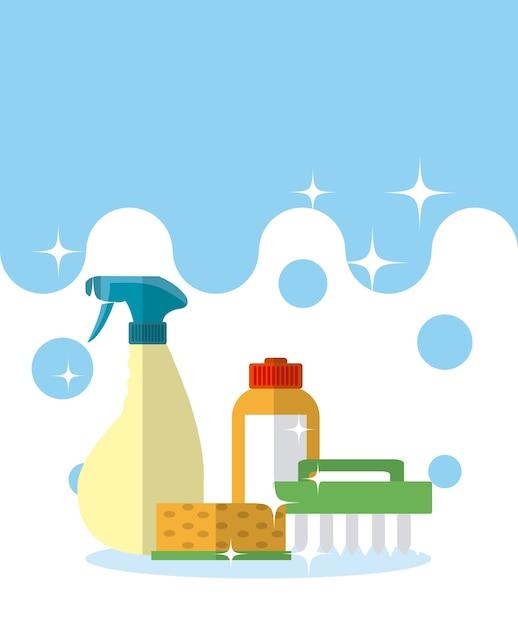 Détergent et brosse de nettoyage avec éponge Vecteur Premium