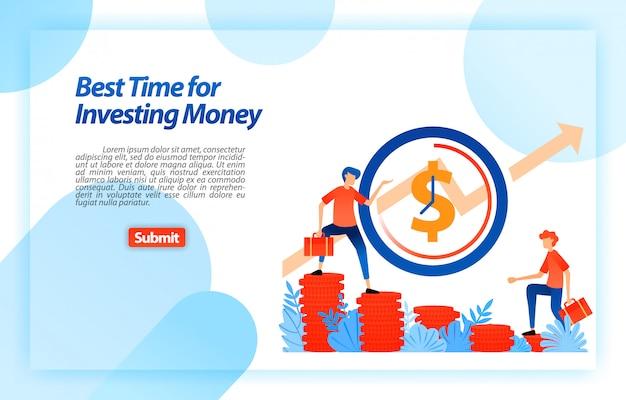 Déterminez le meilleur moment pour choisir un investissement. opportunité de mettre en place une stratégie commerciale au bon moment. modèle web de page de destination Vecteur Premium