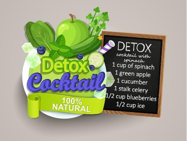 Detox cocktail avec recette. Vecteur Premium