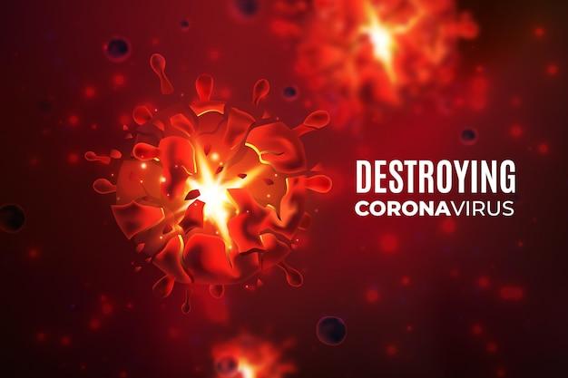Détruire Le Fond Du Coronavirus Avec Un Virus Réaliste Vecteur gratuit