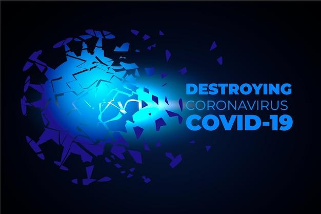 Détruire Le Fond Du Coronavirus Vecteur gratuit
