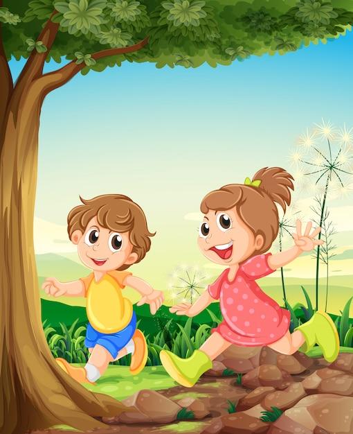 Deux adorables enfants jouant sous l'arbre Vecteur gratuit