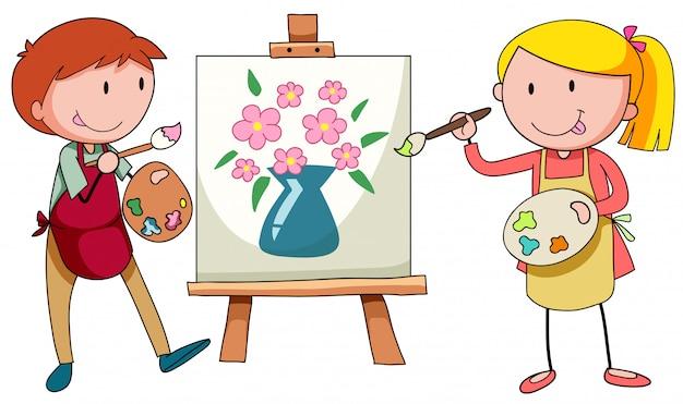 Deux artistes peignant sur toile Vecteur gratuit
