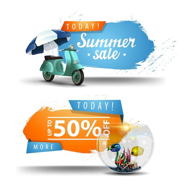 Deux bannières cliquables pour les soldes d'été Vecteur Premium