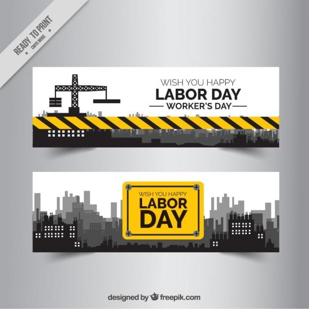 Deux Bannières De La Construction D'une Journée De Travail Vecteur Premium