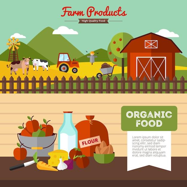 Deux Bannières De Ferme Horizontales Avec Des Aliments Biologiques Et De La Basse-cour En Illustration Vectorielle Style Plat Vecteur gratuit