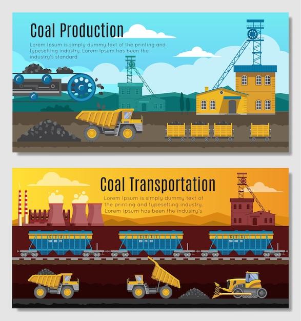 Deux Bannières Horizontales De L'industrie Minière Avec Extraction De Charbon Vecteur gratuit
