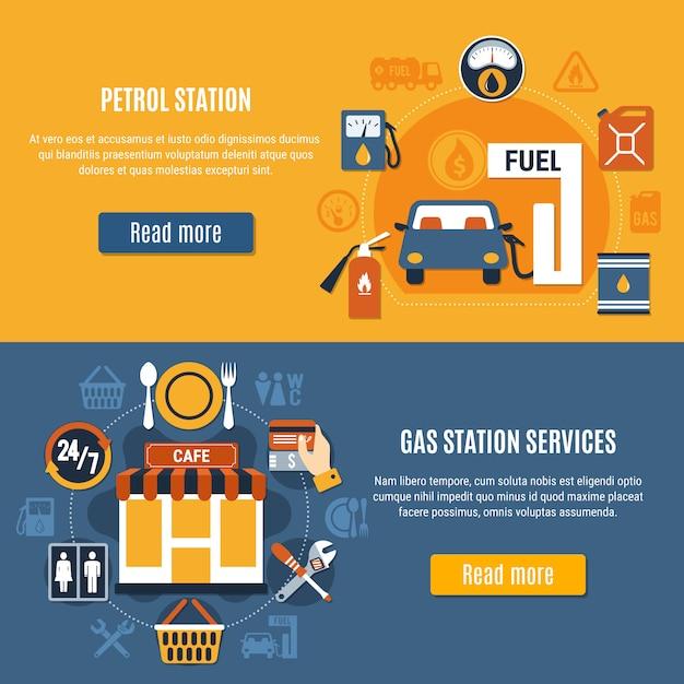 Deux bannières de pompe à essence Vecteur gratuit