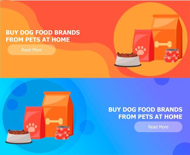 Deux Bannières Pour L'alimentation Animale Vecteur gratuit