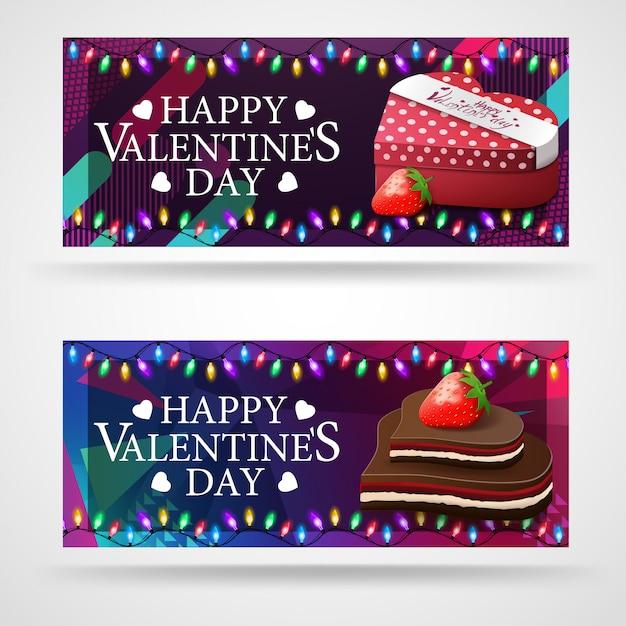 Deux bannières de voeux modernes pour la saint valentin avec des chocolats en forme de cœur Vecteur Premium