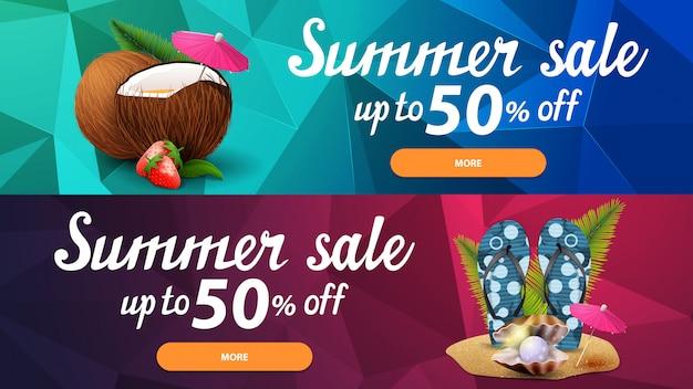 Deux bannières web discount pour les soldes d'été avec texture polygonale Vecteur Premium
