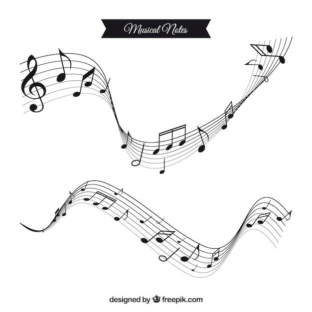 Deux barres ondulées avec des notes de musique en design plat Vecteur gratuit