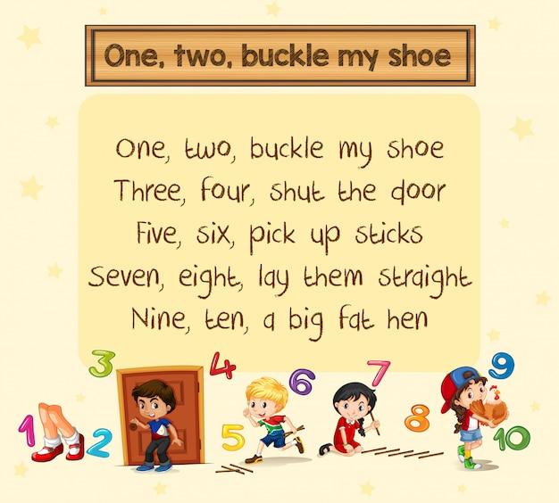 Un deux boucle ma chanson de chaussure Vecteur gratuit