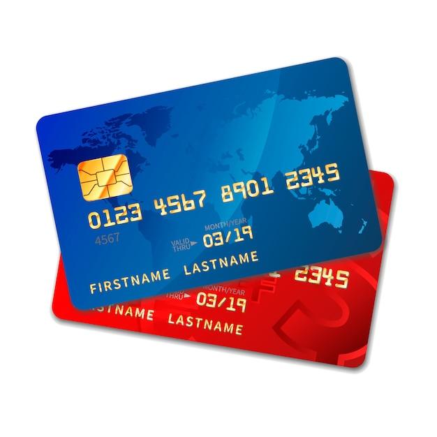 Deux Cartes De Crédit Aux Couleurs Vives Avec Puce Sur Blanc Vecteur Premium